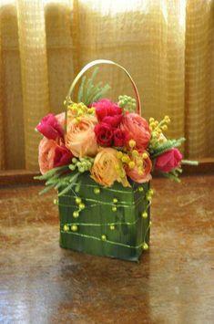 .flower girl floral purse bag