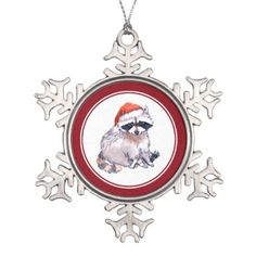 Christmas Watercolor Raccoon Sitting Santa Snowflake Pewter Christmas Ornament - fun gifts funny diy customize personal