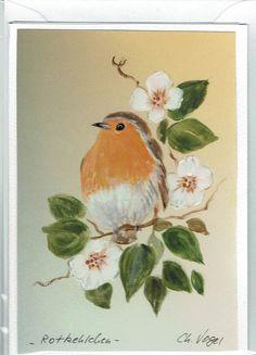 Grüße - Grußkarte - Rotkehlchen,  RESERVIERT ! - ein Designerstück von Vogelmalerin bei DaWanda