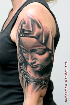 La Pieta Tattoo heilige Maria Mutter Gottes Religious Tattoo from from Sebastian Winder Tattoo Artist www.stilart-tatto... Germany Essen