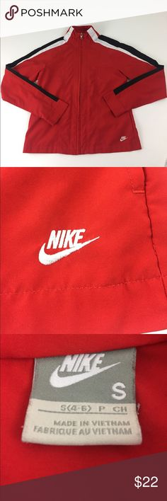 """Nike Lightweight Jacket.  R3 Nike lightweight full zip jacket. Women's size small (4-6). Red with white and black stripes down sleeves. Embroidered NIKE logo on bottom left hem. Side seam pockets. 100% polyester. Measurements are approximate. Chest: 35"""", length: 23"""". Nike Jackets & Coats"""