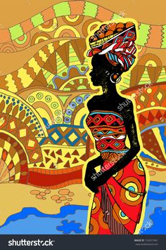 http://image.shutterstock.com/z/stock-vector-african-landscape-southern-landscape-hand-drawn-illustration-beautiful-black-woman-african-woman-152417441.jpg