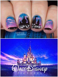 Walt Disney nails :) - Women World Nail Art Designs, Disney Nail Designs, Trendy Nails, Cute Nails, 3d Nails, Nail Manicure, Nail Art Disney, Disney Gel Nails, Walt Disney