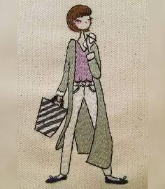 ~reposons un peu!~Version de broderie    #reposonsunpeu #haveabreak #pause #illustration #刺繍図案 #Embroiderydesign #embroidery #embroideryart #embroiderylove #handembroidery #design #handmade  #fashion #mode #filles #girls #刺繍  #刺繍イラスト#手芸 #handicraft  #broderie  #drawing #needles #stitch #sew #café #coffee #breaktime #cafétime