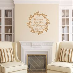 Thanksgiving Christian Bible Verse Wreath Vinyl Wall Decal   Let Us Come  Before Him 22478