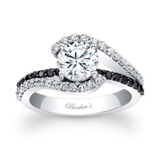 Black Diamond Engagement Ring - 7848LBKW - This classic white gold diamond engagement ring features a prong set round center. The split shank is adorned with shared prong set diamonds and the shoulders curve up to cradle the center. A black diamond bridge graces the center.      Also available in 18k and Platinum.