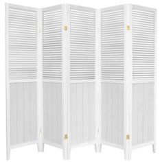 Red Lantern White Wood Folding Indoor Privacy Screen at Lowe's. An attractive, well-crafted room divider, perfect where a simple, contemporary look is preferred. The beadboard on the bottom gives a French country feel Wood Room Divider, 4 Panel Room Divider, Sliding Room Dividers, Divider Screen, Sliding Door, White Beadboard, Oriental Furniture, Country Farmhouse Decor, White Paneling
