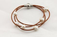T-B0017 Freshwater Pearl Leather Bracelet,Handmade Leather Pearl Bracelet,Twiced Multi Strands Bridal Pearl Beads Bracelet Woven by Leather,