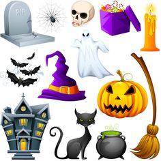 Set of vector cartoon style Halloween decorations and pictures with ghosts, pumpkins, bats, scary houses, witch hat, black cats, skulls and other spooky staff for your holiday decorations, Halloween invitation card designs, posters, etc. Format: EPS or Ai stock vector…