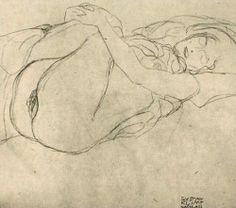 "contemporaindufutur: ""Gustav Klimt, Study for Danae, 1907 """
