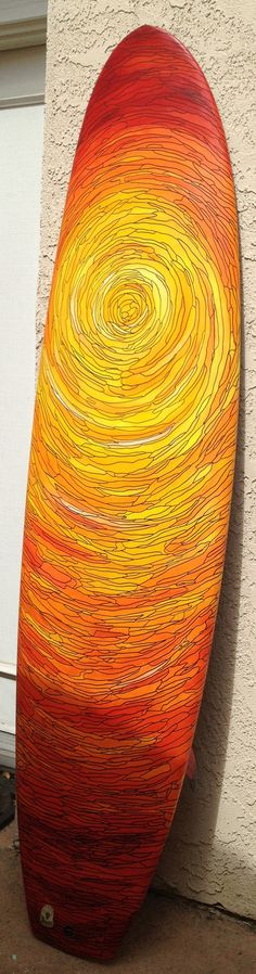 "Surfer's Sunset - Hand Painted 6'8"" DanO Surfboard. surf, surfing, surfer, surfers, wave, waves, big wave, big waves, barrel, barrels, barreled, covered up, ocean, oceans, sea, seas, water, swell, swells, surf culture, island, islands, beach, beaches, ocean water, surfboard, surfboards, salt life, salty sea #surfing"
