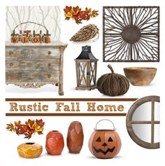 """""""Rustic Fall Home"""" by lgb321 ❤ liked on Polyvore featuring interior, interiors, interior design, home, home decor, interior decorating, Today Interiors, H&M, New Rustics and ELK Lighting"""
