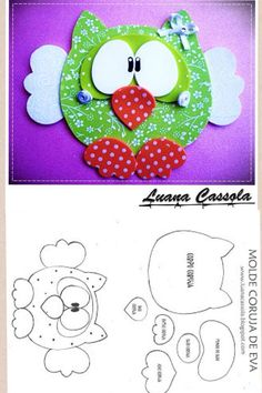 need to translate, scroll down for template for a cute mouse and this owl. Cd Crafts, Foam Crafts, Crafts For Kids, Arts And Crafts, Paper Crafts, Owl Patterns, Applique Patterns, Sewing Projects, Projects To Try