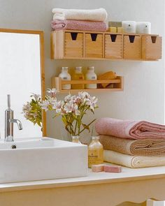 Wall Storage in Small Bathrooms.  That would be great above the toilet for feminine products, big kid wipes, etc.