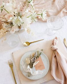 aeipathy studio light pink and neutral tablescape with floral details hand dyed napkins and table runners with avocado tablescape placecards wed Table Decoration Wedding, Wedding Table Settings, Pink Table Settings, Wedding Tables, Decor Wedding, Place Settings, Wedding Bride, Table Arrangements, Floral Arrangements