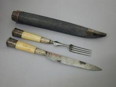 Early knife and fork in traveling case, 16th century