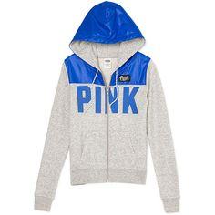 PINK Perfect Full-Zip Hoodie ($55) ❤ liked on Polyvore featuring tops, hoodies, brand pink, victoria's secret, vs, pink top, white hoodie, hooded pullover, slim fit hoodies and white hooded sweatshirt