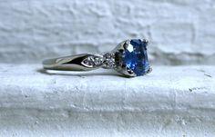 Amazing Vintage 14K White Gold Diamond and Ceylon Sapphire Engagement Ring - 1.86ct. on Etsy, $1,985.00