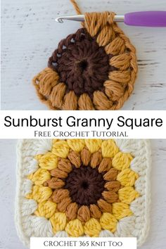 This super easy free crochet tutorial a perfect basic project to get started crocheting! It's such a cool variation of the granny square! für zuhause projekte Sunburst Granny Square - Crochet 365 Knit Too Granny Square Crochet Pattern, Crochet Squares, Crochet Granny, Crochet Motif, Crochet Designs, Crochet Stitches, Knit Crochet, Easy Granny Square, Granny Square Tutorial