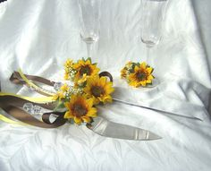 Sunflower wedding Bride and Groom Toasting by ChurchMouseCreations