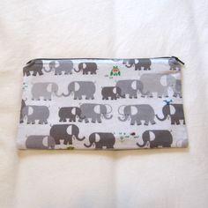 Elephants Fabric Zipper Pouch / Pencil Case / Make Up Bag / Gadget Sack (14.00 USD) by MarfDaze