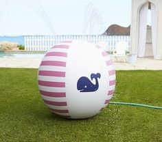 Pink Whale Sprinkler Ball: Who says outdoor toys have to be an eyesore? Pottery Barn Kids' Pink Whale Sprinkler Ball ($23, originally $39) is a preppy pink and navy way to turn your backyard into a little water park.