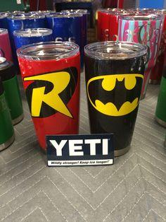 Batman & Robin Powder Coated Yeti Ramblers www.facebook.com/DoubleDironworks Diy Tumblers, Custom Tumblers, Diy Vinyl Projects, Tumblr Cup, Decals For Yeti Cups, Kids Tumbler, Cup Crafts, Custom Cups, Vinyl Monogram