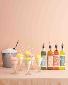These alcoholic snow-cone syrups are sure to be a hit. But if you prefer something nonalcoholic, just omit the booze.