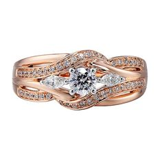 1/2 ct. tw. Diamond Engagement Ring in 14K White & Rose Gold