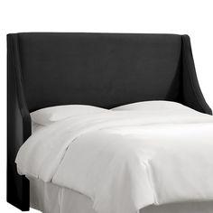 Custom Upholstered Swoop Wingback Headboard - Velvet Black - Queen - Skyline Furniture