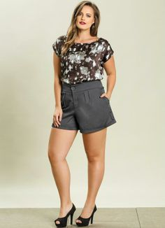 Blusa Chiffon Estampada Plus Size - Quintess