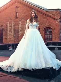 The Cinderella dress has an Ice Blue color corset and skirt.. See the entire Fairy Tale Wedding Dresses by Galia Lahav: Les Rêves Bohémiens by clicking.