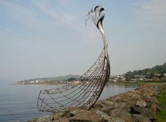 Dragon ship sculpture, Largs, Scotland, marking the site if the last Viking invasion in Scotland, 1263.