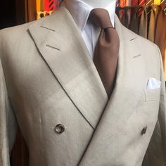 """andersonandsheppard: """"Ideal for summer months, a double breasted oatmeal Irish linen jacket. Cloth is w.bill 60129 13oz. Styled with our brown dense micro dot silk printed tie. #andersonandsheppard..."""