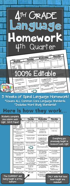 Spiral Language Homework, Morning Work, or Centers for the ENTIRE 4th Quarter of FOURTH GRADE! Aligned with 4th grade Common Core Language standards {Grammar & Word Study}. These sheets are 100% EDITABLE, and come with answer keys. $