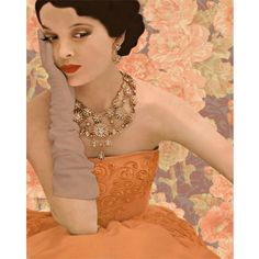Vintage glamour fashion goddess photomontage (2) digital art print peach taupe abstract wall art