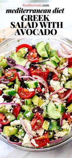 This healthy Greek salad with added avocado and an easy-to-make Greek salad dressing is just the right recipe for simple no-cooking eats all summer long. Spinach Salad Recipes, Greek Salad Recipes, Summer Salad Recipes, Chicken Salad Recipes, Healthy Salad Recipes, Recipe For Greek Salad, Recipe For Cucumber Salad, Salad With Avocado, Greek Salad Recipe Authentic
