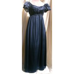 Jane Austen English Regency Gown French Empire Dress in Silk Chiffon ❤ liked on Polyvore featuring dresses, gowns, blue dresses, beaded evening gowns, embroidered dress, blue print dress and beaded gown