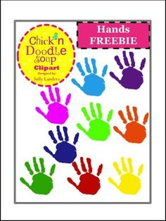 FREEBIE! Colorful Hands Clipart {Chick'n Doodle Soup} by Sally Landers Digital Paper Freebie, Hand Clipart, Clipart Design, Teacher Resources, Wonderful Images, Cover Art, Illustrators, Worksheets, Doodles