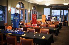 Basketball Jerseys Centerpieces - Bar Mitzvah Sports Theme {A Magic Moment} - mazelmoments.com