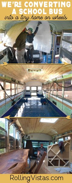 We are converting a 20 year old, 30 ft long, retired school bus into a tiny home on wheels and documenting the bus conversion on youtube.