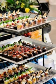 Three Tiers of Tiny Taste Bud Tinglers of delicious bite sized desserts by Culinary Productions, a Baton Rouge LA Caterer.