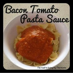 Thermomix Bacon and Tomato Pasta Sauce with lots of hidden vegetables Bacon Tomato Pasta, Bellini Recipe, Hidden Vegetables, Great Pizza, Pesto Sauce, Tomato Sauce, Homemade Muesli, Along The Way, Sweet Recipes
