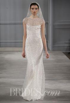 "Brides.com: Monique Lhuillier - Spring 2014. ""Celestial"" silk white and gold embroidered tulle illusion neckline sheath, Monique Lhuillier"