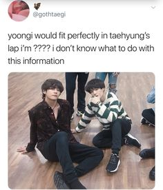 You have no idea how badly I want Yoongi to just shuffle over a little and sit right in Tae's lap and for tae to just put his arms around him and act like nothing even happened!!!!