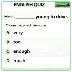 Woodward English Quiz 14 --- More about the difference between Very, Too and… English Grammar Rules, Grammar And Vocabulary, English Words, English Language, Language Arts, English Quiz, English Study, Learn English, Woodward English