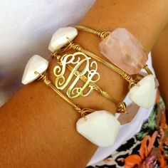 Lace Monogram Wire Wrapped Stone Bangle