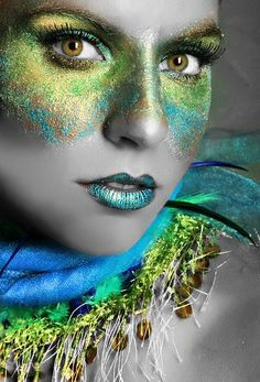 Green Gold Make-up Mask as worn by Model Angie Blake, Stunning photo by Misty Riddle