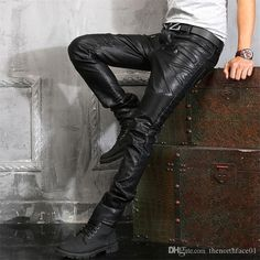 Spring and autumn thicken PU motorcycle faux leather pants men skinny trousers tight-fitting pants for men brief casual black Black Leather Jeans, Mens Leather Pants, Slim Fit Trousers, Mens Trousers Casual, Men Casual, Leather Motorcycle Pants, Motorcycle Gear, Folding Jeans, Leder Outfits