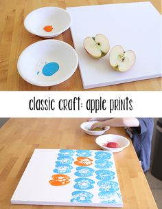 Crafting with Food: Apple Prints - these would be adorable in a playroom - Modern Parents Messy Kids